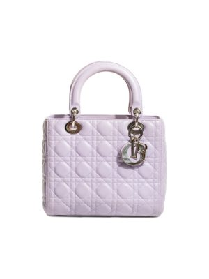 Lavender Leather Lady Dior Medium Bag by Christian Dior - Le Dressing Monaco