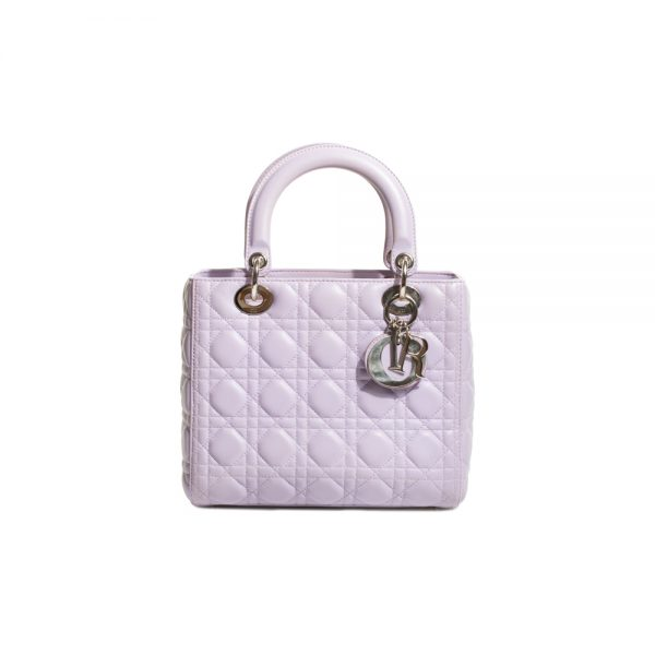 Lavender Leather Lady Dior Medium Bag by Christian Dior - Le Dressing Monaco