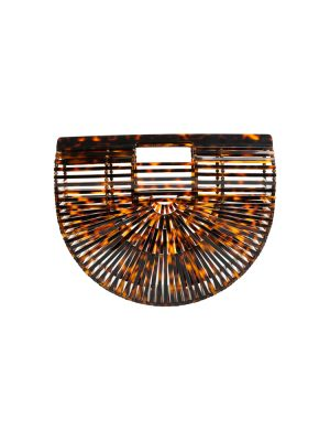 Brown Tortoiseshell Acrylic Clutch by CultGaia - Le Dressing Monaco