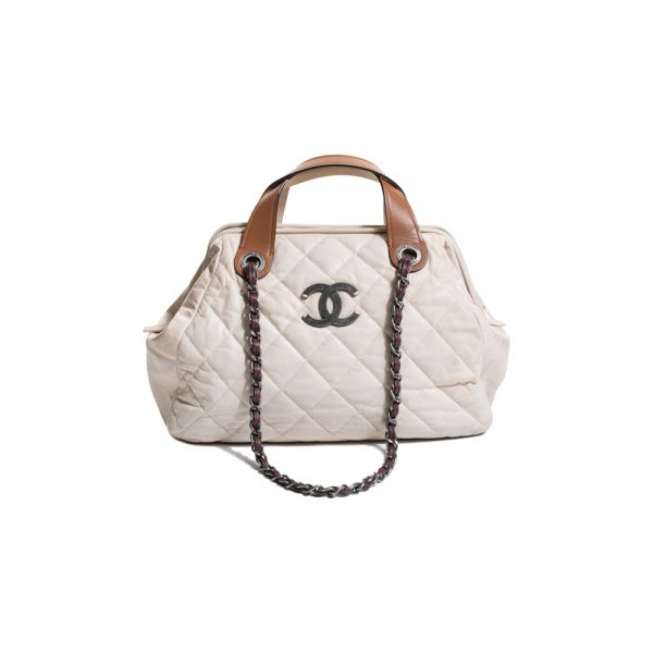 Cream In The Mix Quilted Leather Bowler Bag by Chanel - Le Dressing Monaco