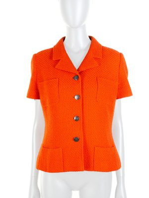 Orange Short Sleeved Tweed Jacket by Chanel - Le Dressing Monaco