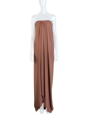 Brown Long Splitted Bustier Dress by Lanvin - Le Dressing Monaco