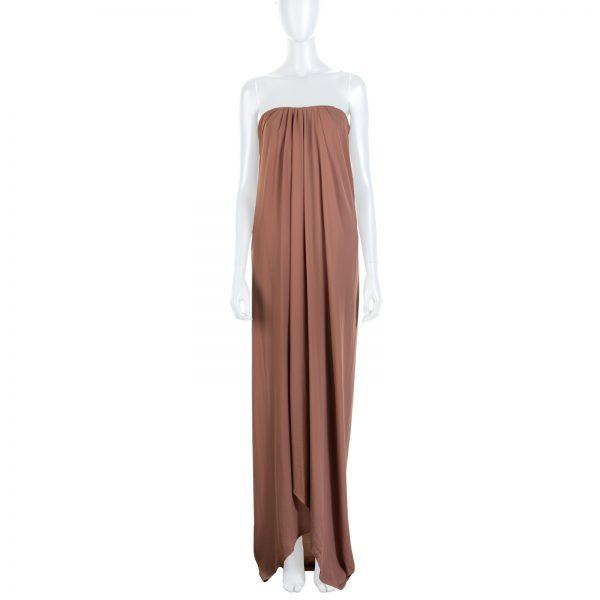 Brown Long Splitted Bustier Dress by Lanvin - Le Dressing Monaco