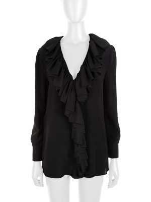 Black Pearl Embellished Ruffle Blouse by Gucci - Le Dressing Monaco