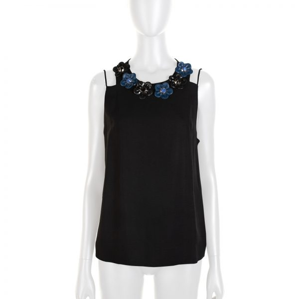 Black And Blue Flowerland Tank Top by Fendi - Le Dressing Monaco
