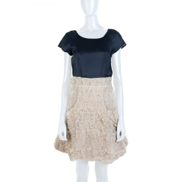 Black Beige Tulle Sequins Embellished Dress by Chanel - Le Dressing Monaco
