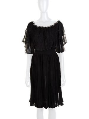 Black Ruffled Boat Neck Dress by Alexander McQueen - Le Dressing Monaco