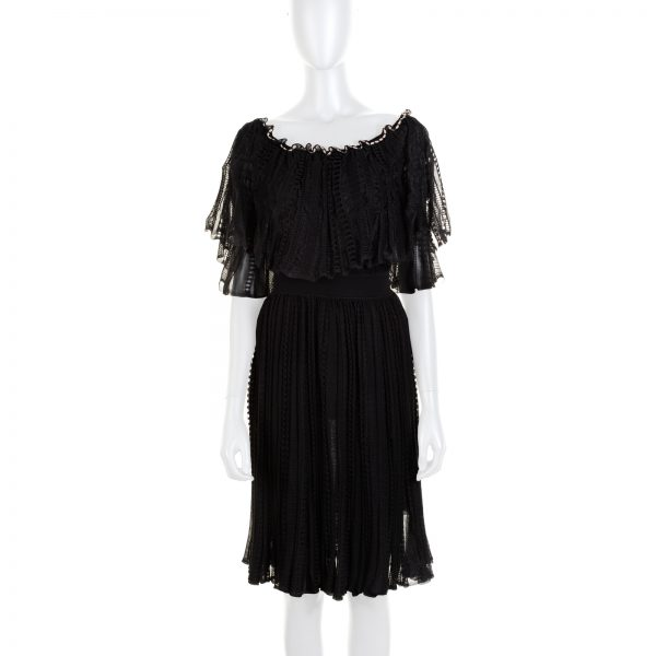 Black Ruffled Boat Neck Dress by Alexander McQueen - Le Dressing Monaco