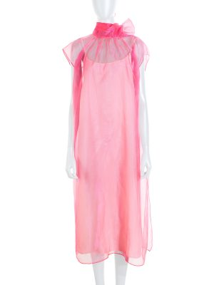 Pink Lavallière Collar Silk Dress by Prada - Le Dressing Monaco