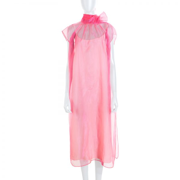 Pink Lavallière Collar Silk Dress by Prada - Le Dressing Monaco
