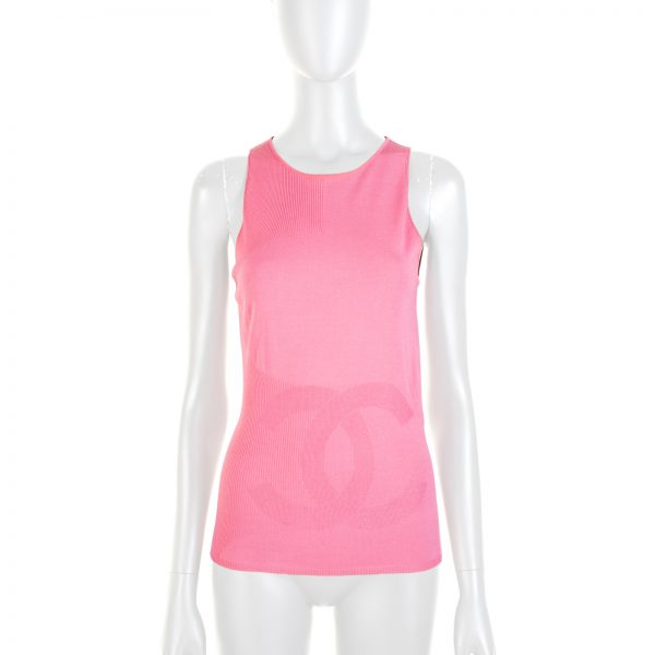 Pink CC Knitted Tank Top by Chanel - Le Dressing Monaco