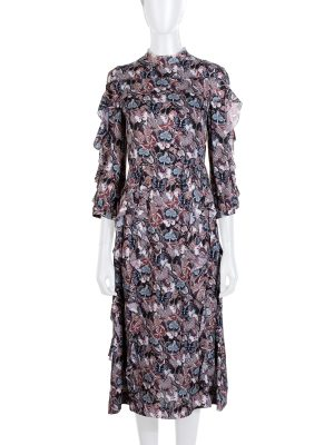 Purple Butterfly Printed Ruffle Dress by Chanel - Le Dressing Monaco