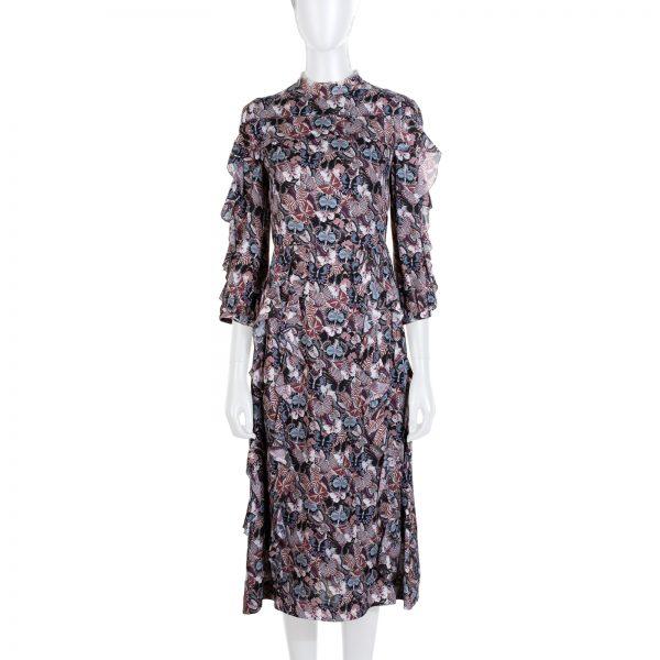 Purple Butterfly Printed Ruffle Dress by Chanel - Le Dressing Monaco