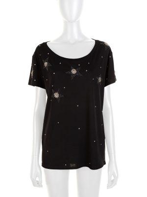 Black Star Sequins Embellished Tee Shirt by Saint Laurent - Le Dressing Monaco