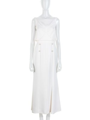 Off White Open Back Long Dress by Chanel - Le Dressing Monaco