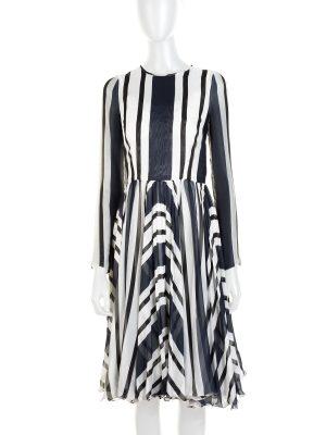 Stripped Silk Long Sleeved Dress by Dolce e Gabbana - Le Dressing Monaco