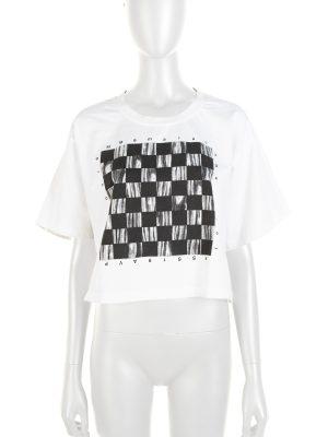 White Checkered Cotton Crop Top by Maison Margiela - Le Dressing Monaco