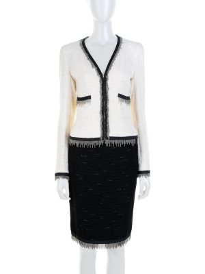 Off White Black Metal Fringed Skirt Suit by Chanel - Le Dressing Monaco