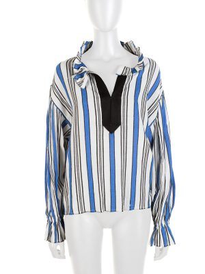 Blue White Stripped V Buttoned Blouse by Philosphy - Le Dressing Monaco