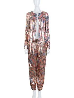 Pink Gold Shiny Flower Printed Silk Pyjamas by Chanel - Le Dressing Monaco