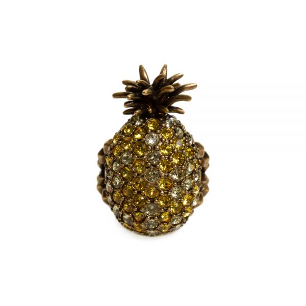 Crystal studded pineapple ring in metal by Gucci - Le Dressing Monaco Url preview: