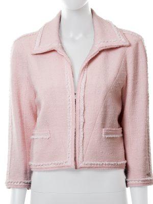 Zipped Tweed Light Pink Chanel Jacket - Le Dressing Monaco