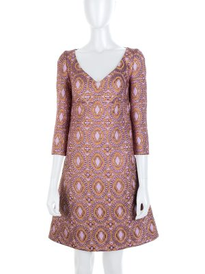 Gold Pink Brocard Midi Dress by Louis Vuitton - Le Dressing Monaco