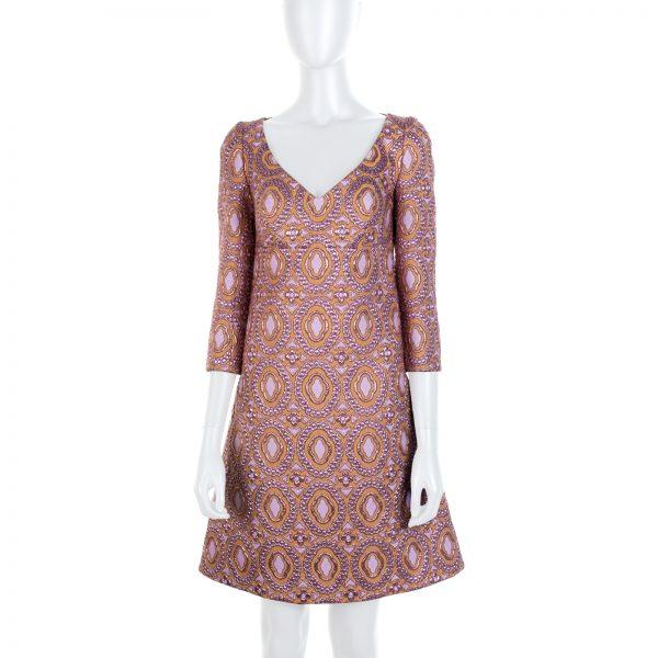 Gold Pink Brocard Midi Dress by Louis Vuitton - Le Dressing Monaco