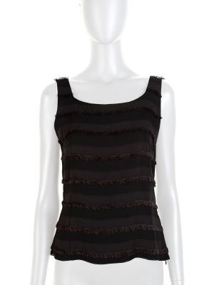 Black Fringed Silk Tank Top by Akris- Le Dressing Monaco