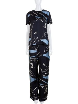 Blue Black Tiger Printed Silk Pant Suit by Valentino - Le Dressing Monaco