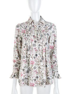 Off-White Floral Print Long Sleeved Blouse by Saint Laurent - Le Dressing Monaco
