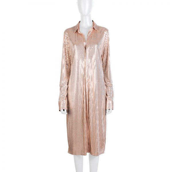 Nude Mirror Embellished Midi Dress by Bottega Veneta - Le Dressing Monaco