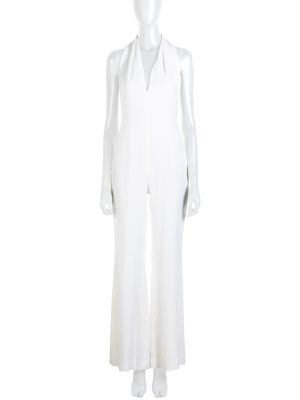 White Halter Necked Jumpsuit by Balmain - Le Dressing Monaco