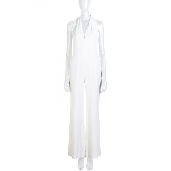 White Halter Necked Jumpsuit by Balmain - Le Dressing Monaco