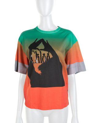 Green Orange Gradient Feminity Tye Die Tee-Shirt by Chloe - Le Dressing Monaco