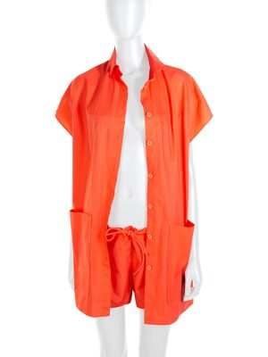 Orange Buttoned Cotton Short Suit by Hermès - Le Dressing Monaco