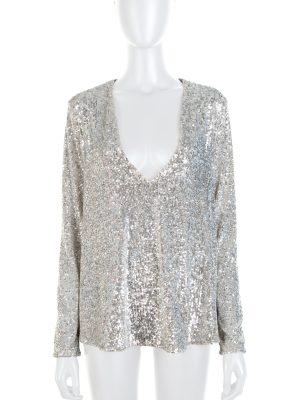 Silver Sequin Embellished V Pullover by Ermanno Scervino - Le Dressing Monaco