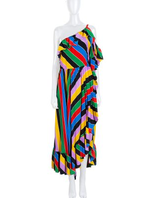 Multicolor One shoulder Ruffled Striped Dress by Philosophy - Le Dressing Monaco
