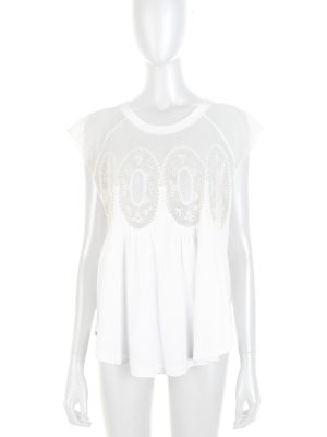 Off-White Lace Embellished Top by Chloe - Le Dressing Monaco