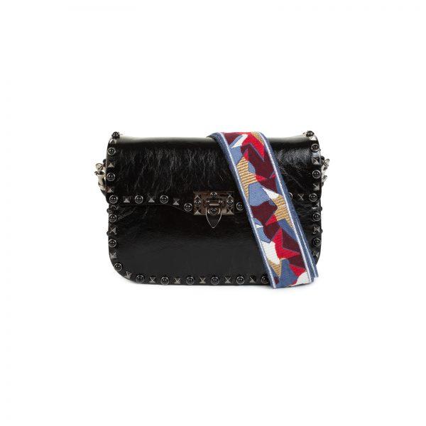 Black Rockstud Stars Guitar Strap Shoulder Bag by Valentino - Le Dressing Monaco
