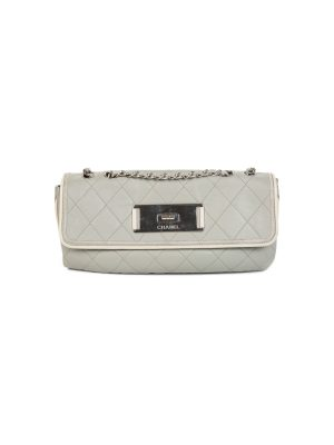 Grey East West Mademoiselle Quilted Flap Bag by Chanel - Le Dressing Monaco