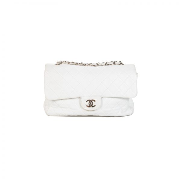Timeless White Leather 2.55 Double Flap Bag by Chanel - Le Dressing Monaco