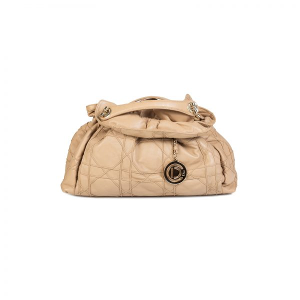 Beige Cannage Leather Le Trente Bag by Christian Dior - Le Dressing Monaco