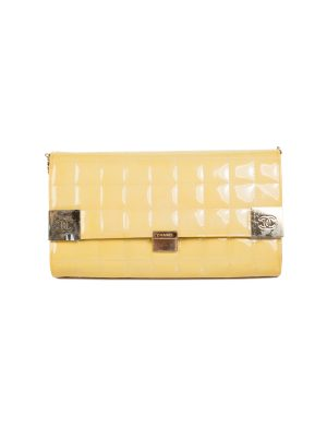 Yellow Quilted Chocolate Bar Patent Leather Bag by Chanel - Le Dressing Monaco