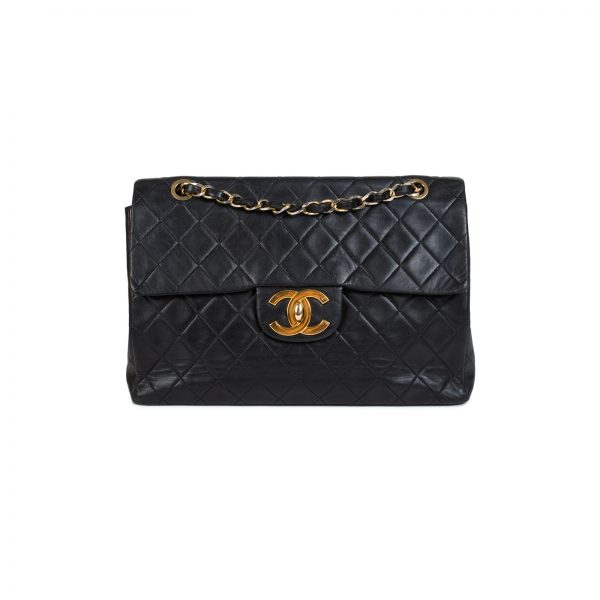 Black Quilted Lambskin Maxi Jumbo Flap Bag by Chanel - Le Dressing Monaco