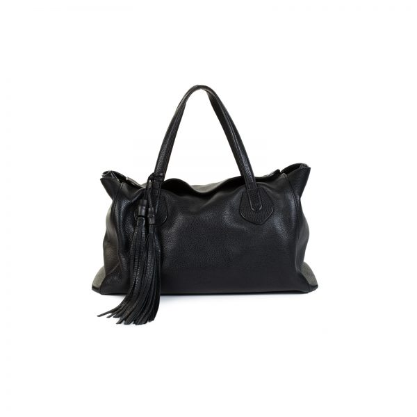 Black Pebbled Leather Lady Tassel Tote Bag by Gucci - Le Dressing Monaco