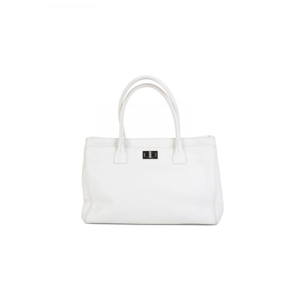 White Cerf 2.55 Reissue Leather Shopping Tote by Chanel - Le Dressing Monaco