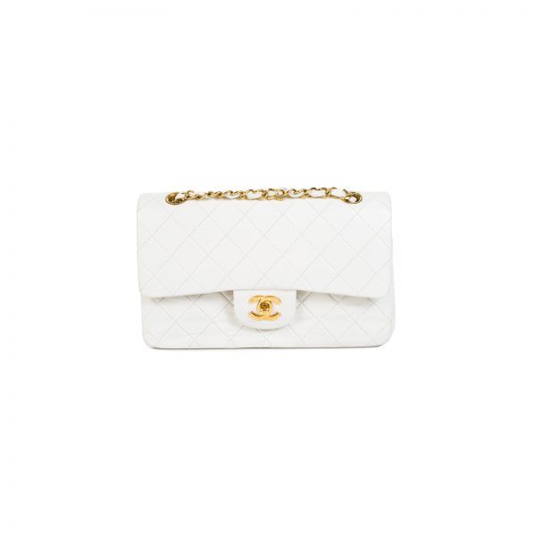 Timeless White and Gold Hardware 2.55 Flap Bag by Chanel - Le Dressing Monaco