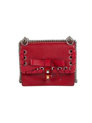 Kan I Bow Detail Red Leather Shoulder Bag by Fendi - Le Dressing Monaco
