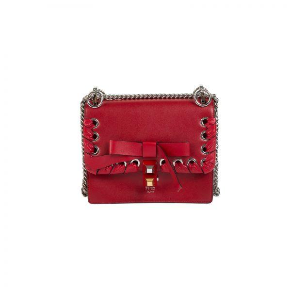 Kan I Bow Detail Red Leather Shoulder Bag by Fendi - Le Dressing Monaco